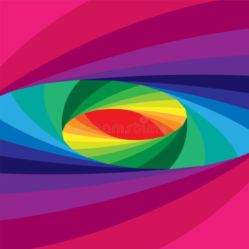 Kolorowy Elliptical Helix Migocący od zmroku Zaświecać brzmienia i Rozszerzać od centrum Okulistyczny złudzenie głębia i pojemnoś royalty ilustracja