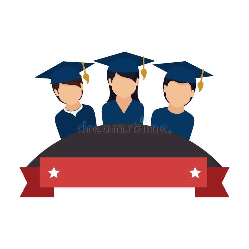 Kolorowy emblemat z faborku i uczni absolwentami royalty ilustracja