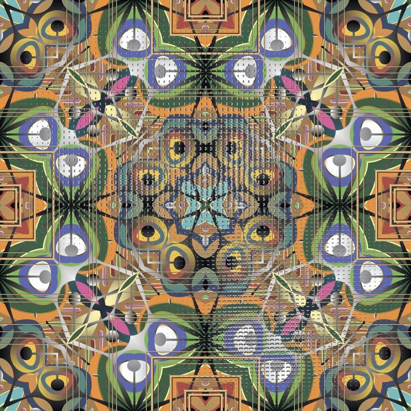 Kolorowy etniczny stylowy abstrakcjonistyczny wektorowy bezszwowy wzór elegancja royalty ilustracja