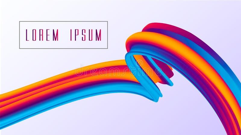 Kolorowy faborek odizolowywająca linia Farby fala odizolowywająca na białym tle Wektorowa ilustracja EPS10 ilustracja wektor