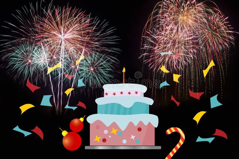 Kolorowy fajerwerki w wakacyjnym nowego roku festiwalu royalty ilustracja