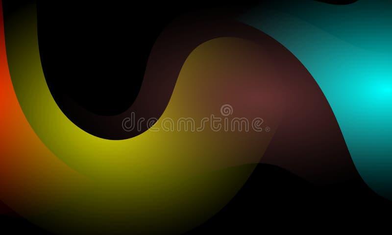 Kolorowy falowy abstrakcjonistyczny tło z oświetleniowym skutkiem, gładka, koszowa, wektorowa ilustracja, royalty ilustracja