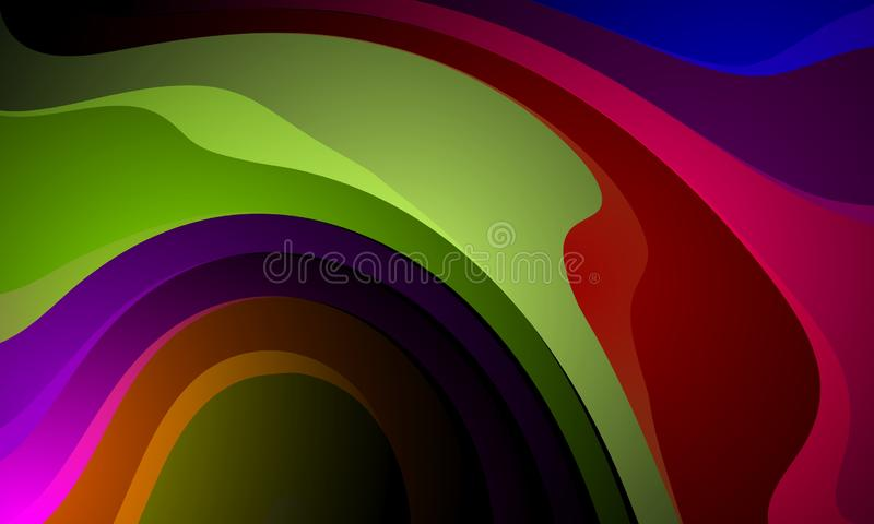 Kolorowy falowy abstrakcjonistyczny t?o, tapeta Ilustracja, krzywa ilustracja wektor