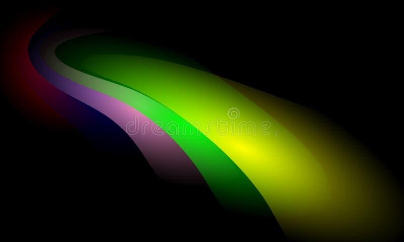 Kolorowy falowy abstrakcjonistyczny t?o z o?wietleniowym skutkiem, g?adka, koszowa, wektorowa ilustracja, royalty ilustracja