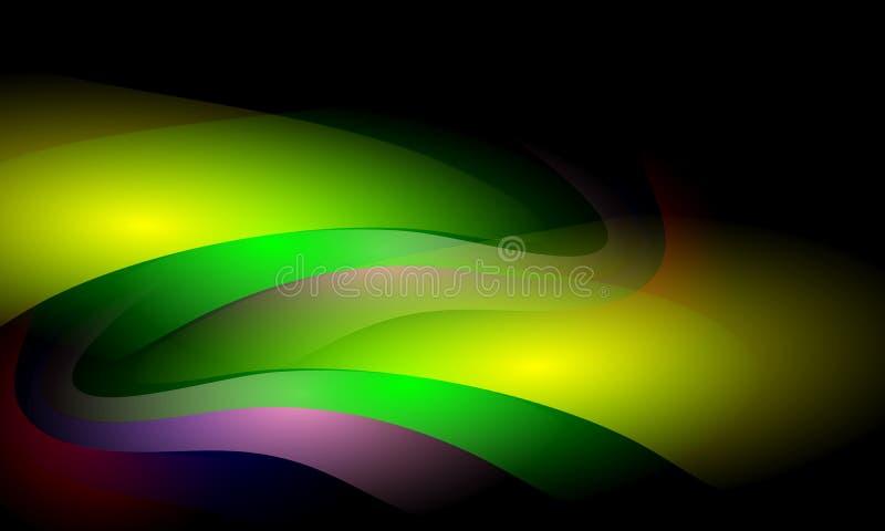 Kolorowy falowy abstrakcjonistyczny t?o z o?wietleniowym skutkiem, g?adka, koszowa, wektorowa ilustracja, ilustracji