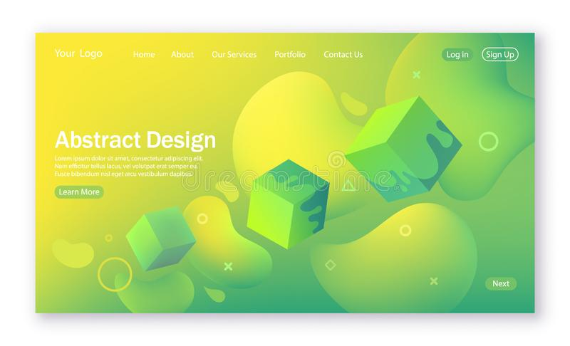 Kolorowy falowy kształt, abstrakcjonistyczny tło z ciecz formą dla lądować stronę Kolorowy cyfrowy i ruch wzór w zieleni i wrzesz royalty ilustracja