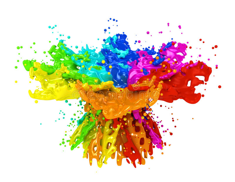 Kolorowy farby chełbotanie odizolowywający na bielu royalty ilustracja