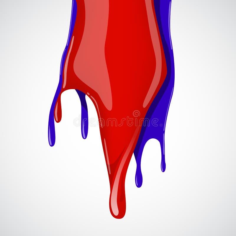 Kolorowy farby obcieknięcie na białym tle ilustracji