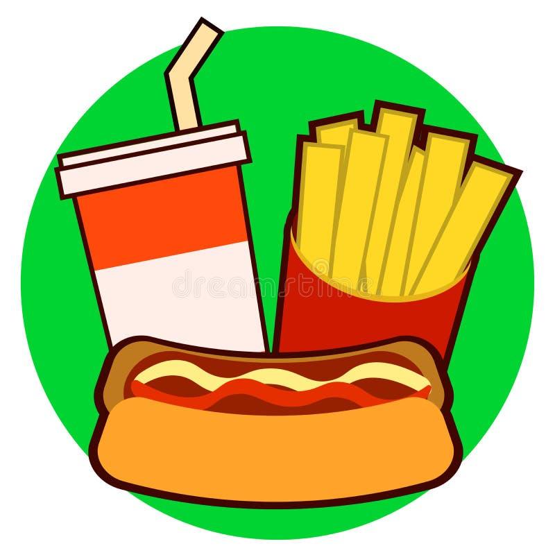 Kolorowy fast food na tacy Hot dog, francuscy dłoniaki, sodowana wektorowa ilustracja odizolowywająca na tle ilustracja wektor