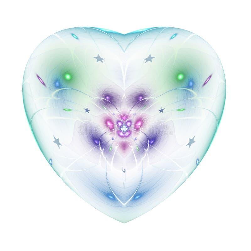 Kolorowy fractal kwiat w odosobnionym sercu royalty ilustracja