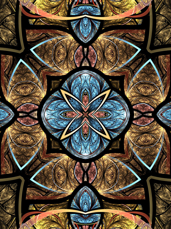 Kolorowy fractal mandala royalty ilustracja