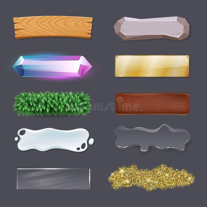 Kolorowy gemowy interfejsu użytkownika wektor zapina - asortowane tekstury GUI pojęcie ilustracji