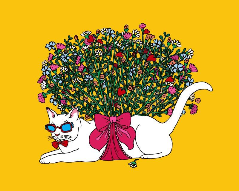 Kolorowy Gorący lato kot z bukietem kwiaty obraz stock