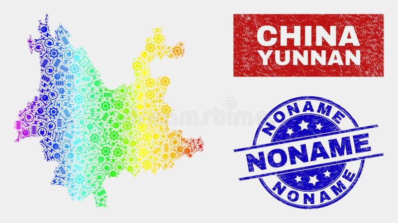 Kolorowy Gromadzić Yunnan prowincji Grunge i mapy Noname znaczka foki ilustracja wektor