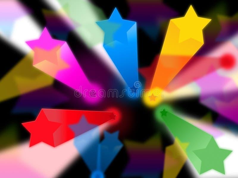 Kolorowy gwiazdy tło Pokazuje promienie Niebiańskich I nieba ilustracji