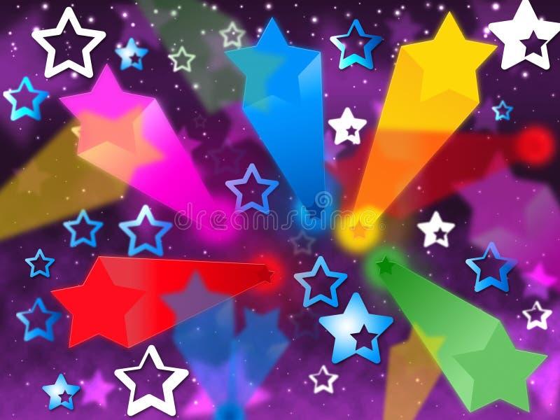 Kolorowy gwiazdy tło Znaczy nieba jaśnienie I promienie ilustracja wektor