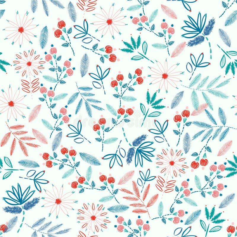 Kolorowy Hafciarski Bezszwowy wzór z swoboda kwiatów dekoracji wektoru małą ilustracją R?ka rysuj?cy elementy Projekt dla ilustracja wektor