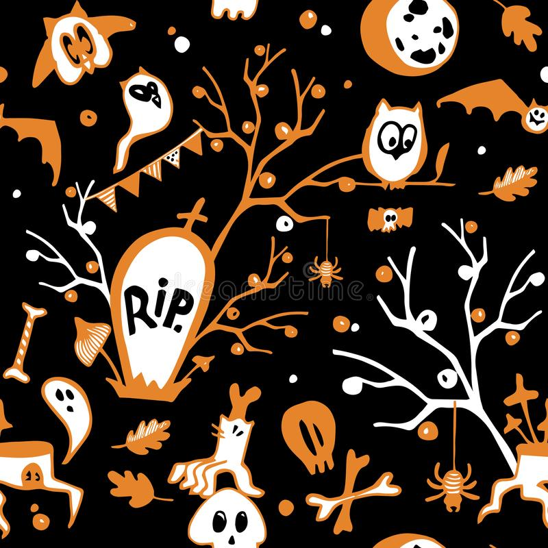 Kolorowy Halloweenowy bezszwowy wektorowy ciemny tło z sowami, duchami, nietoperzami, pająkami, czaszkami i drzewami, royalty ilustracja