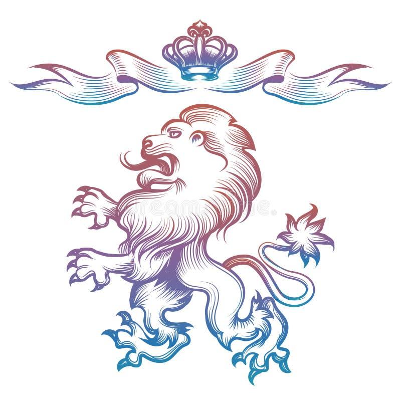 Kolorowy heraldy królewski lew i korona ilustracja wektor