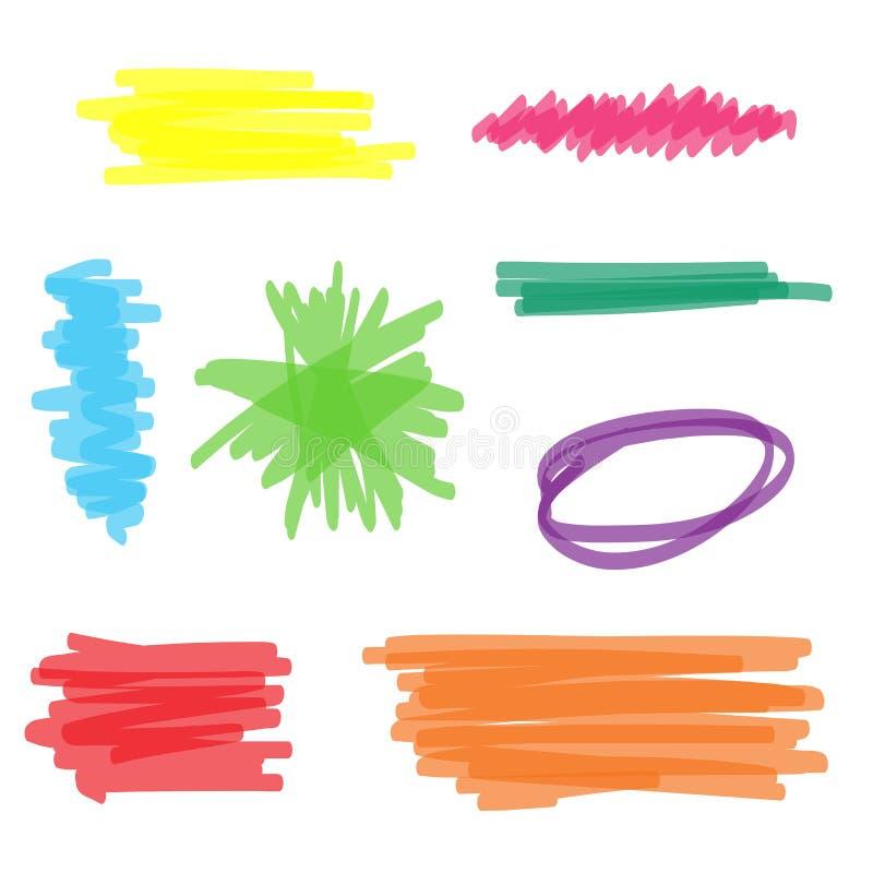Kolorowy Highlighter markiera set ilustracji