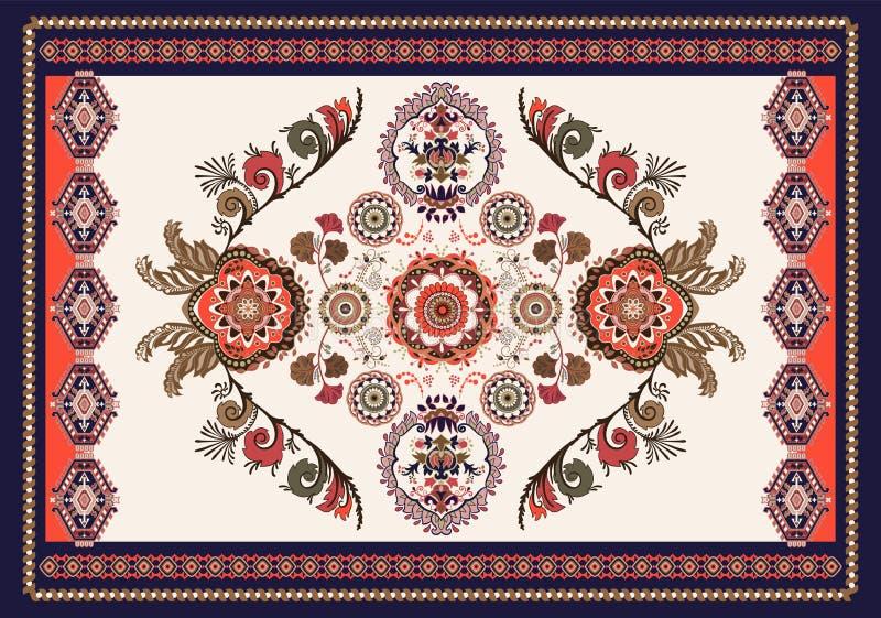 Kolorowy hungarian wektorowy projekt dla dywanika, r?cznik, dywan, tkanina, tkanina, pokrywa Jaskrawy kwiecisty stylizowany dekor ilustracja wektor