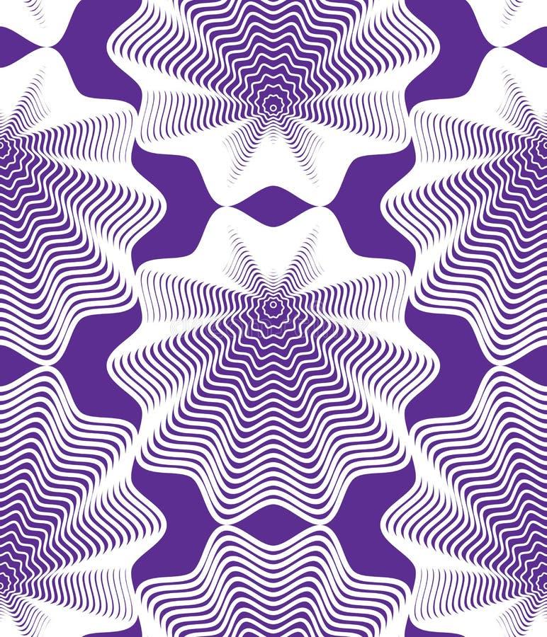 Kolorowy iluzoryczny abstrakcjonistyczny bezszwowy wzór z geometrycznym figura ilustracja wektor
