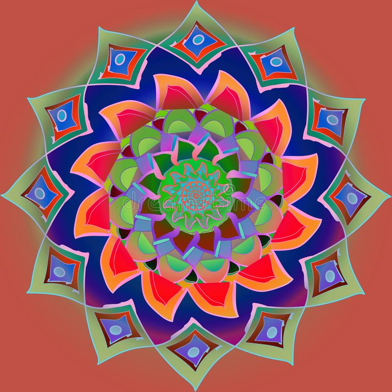 KOLOROWY INDIAŃSKI kwiatu mandala W rewolucjonistce, pomarańcze, purpura, zieleń, BŁĘKITNA Z PŁASKIM brązu tłem royalty ilustracja