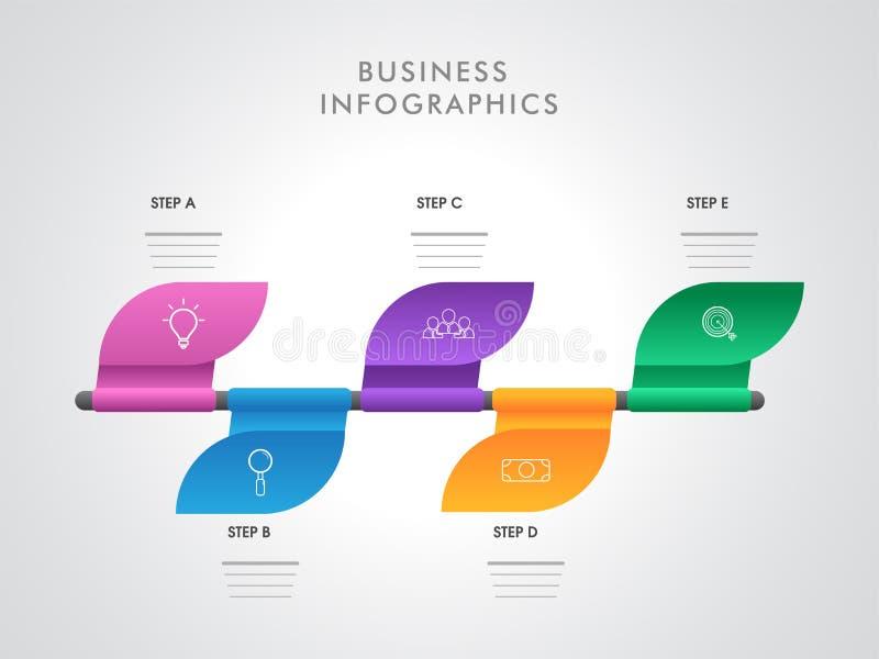 Kolorowy infographic układ z pięć różnymi krokami dla Biznesowego Infographics ilustracja wektor