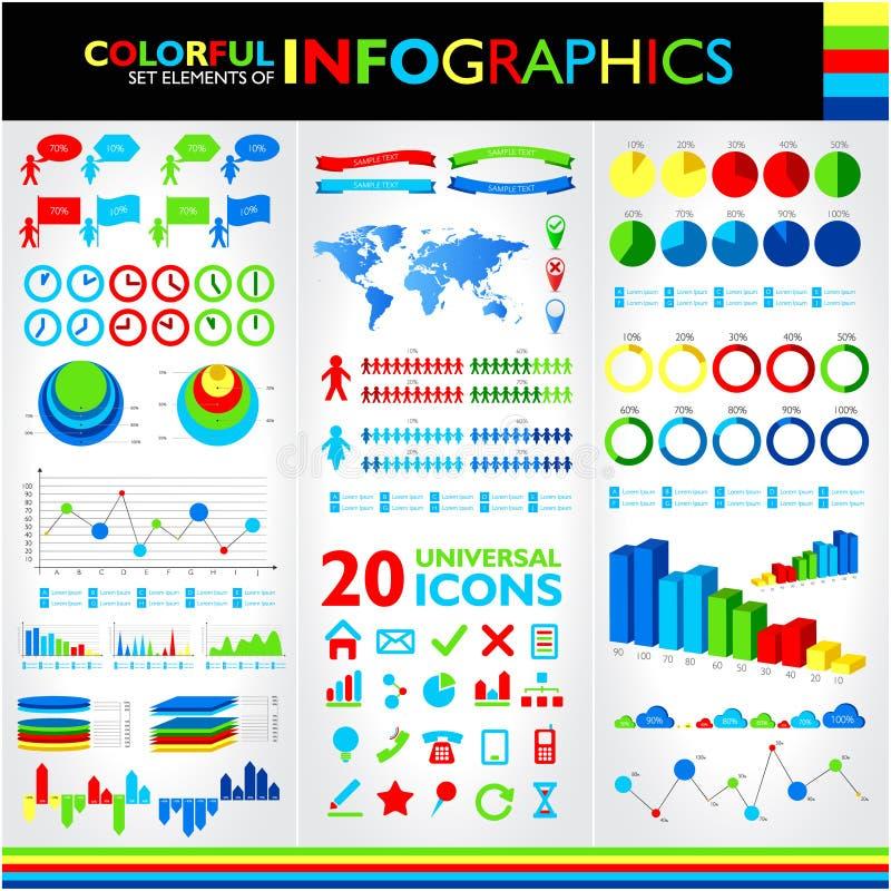 Kolorowy infographics set royalty ilustracja