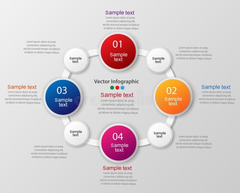 Kolorowy infographics szablon z krokami, opcje zdjęcie stock