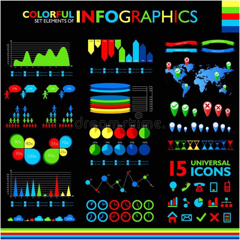 Kolorowy infographics ustawiający na czerni ilustracja wektor