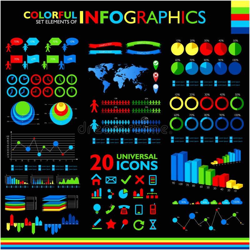 Kolorowy infographics ustawiający na czerni ilustracji