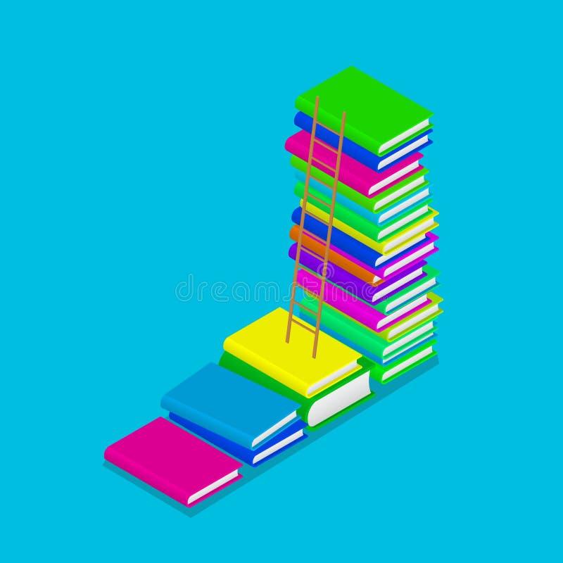 Kolorowy isometric rozsypisko książka schodki z drabiną jest edukacja starego odizolowane pojęcia również zwrócić corel ilustracj ilustracji