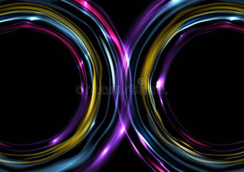 Kolorowy jarzy się elektryczny neonowy abstrakcjonistyczny tło ilustracja wektor