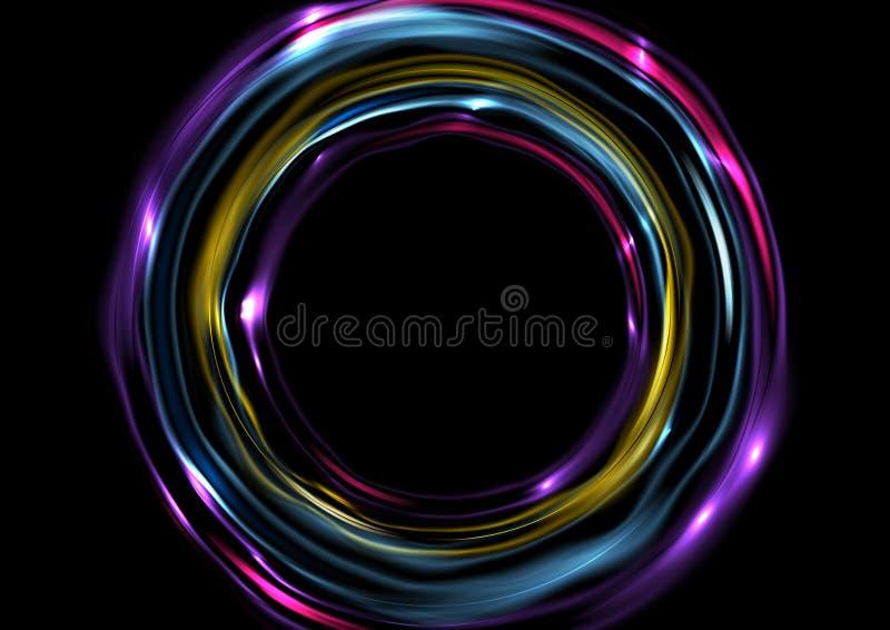Kolorowy jarzy się elektryczny neonowy pierścionków okregów tło ilustracja wektor
