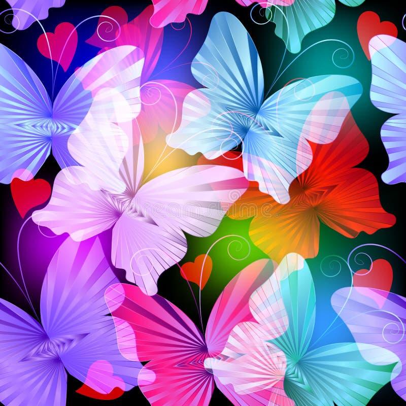 Kolorowy jarzy się promieniowych motyli wektorowy bezszwowy wzór ilustracji