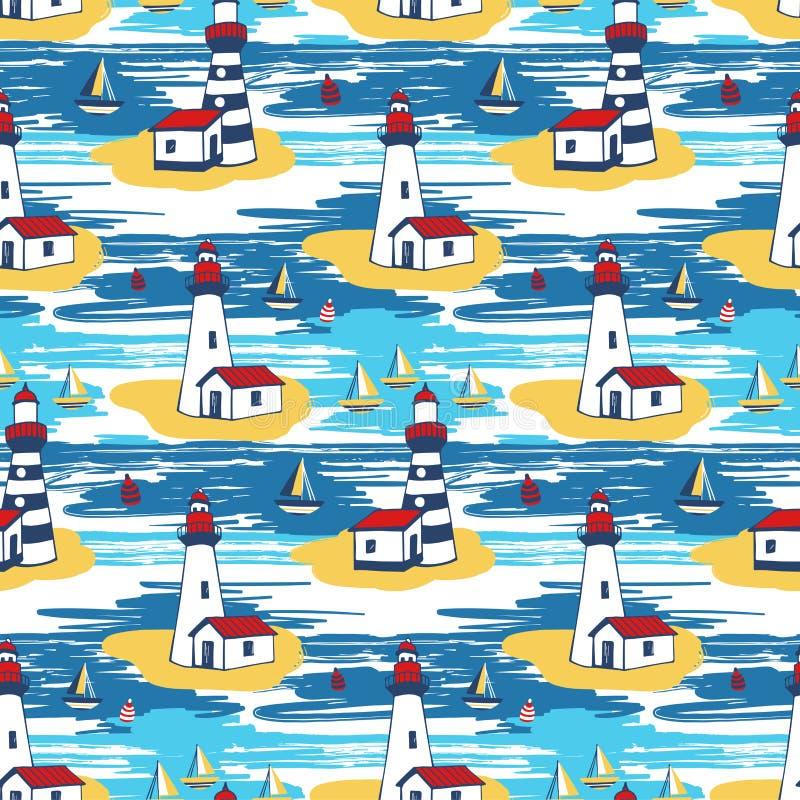Kolorowy jaskrawy wektorowy bezszwowy wzór z latarni morskiej landscap royalty ilustracja