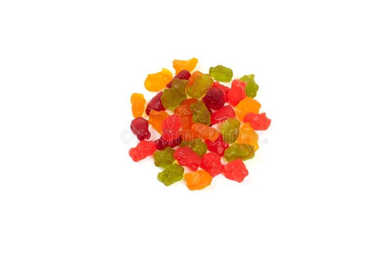 Kolorowy je gumowatych niedźwiedzi galaretowego cukierek, odizolowywającego na białym tle obraz royalty free