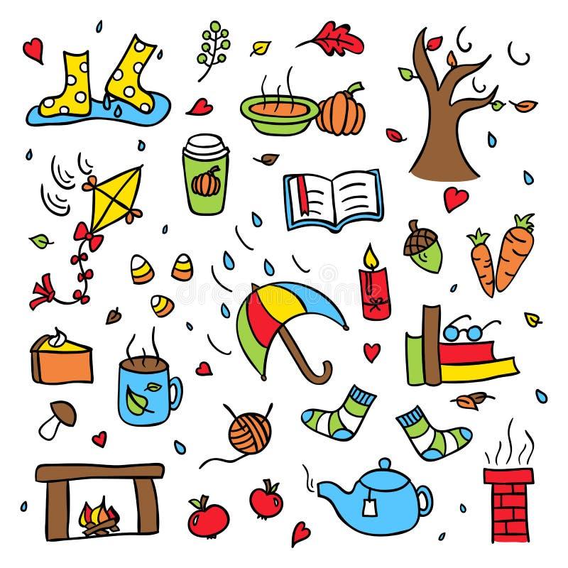 Kolorowy jesieni doodle wektor ustawia odosobnioną dżdżystą i wietrzną pogodę royalty ilustracja