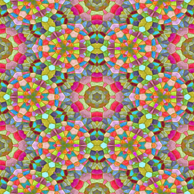 Kolorowy kalejdoskop z ornamentami, bezszwową teksturą z najwięcej koloru, czerwonego i zielonego, okręgu kalejdoskop ilustracja wektor