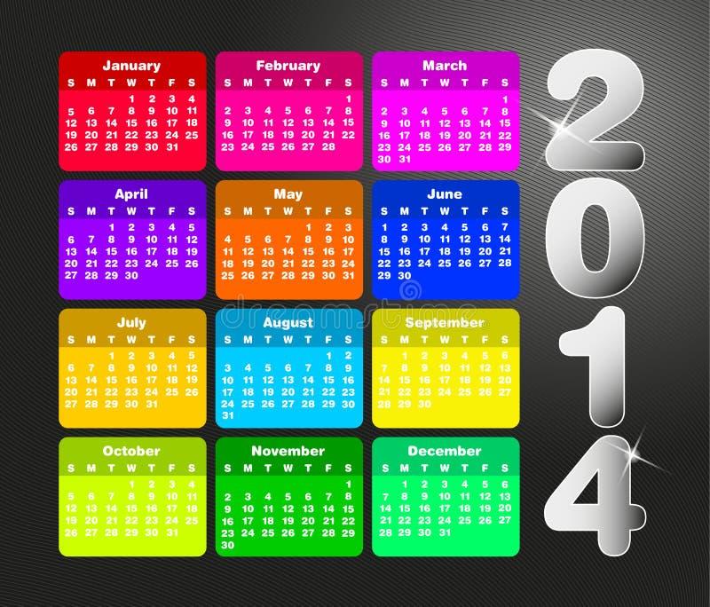 Kolorowy kalendarz dla 2014. ilustracja wektor