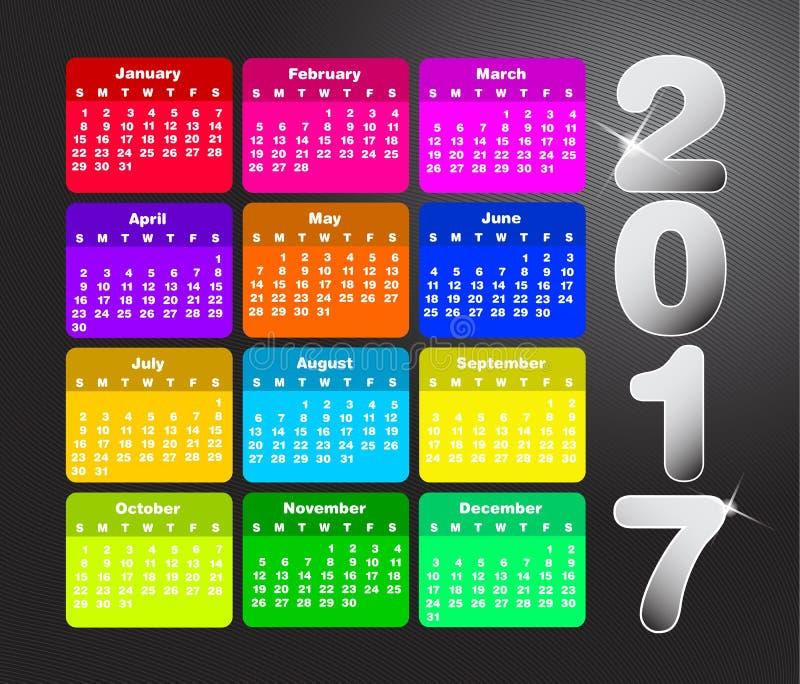 Kolorowy kalendarz dla 2017 Na Niedziela tydzień początek royalty ilustracja