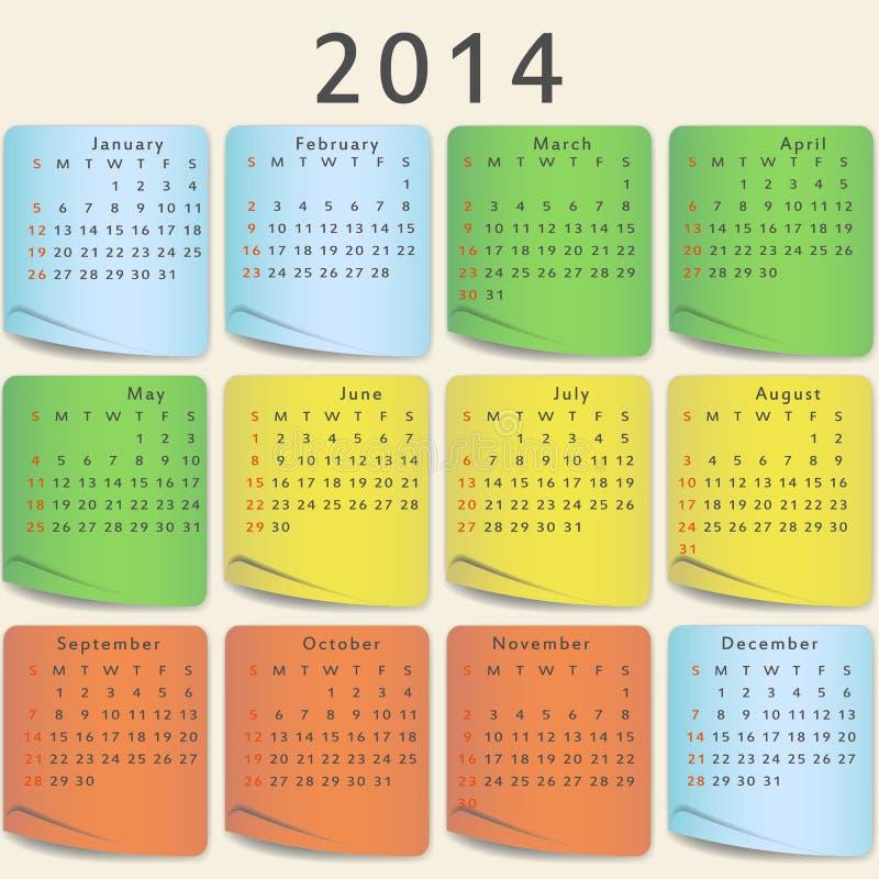 Kolorowy kalendarz 2014 roku ilustracji