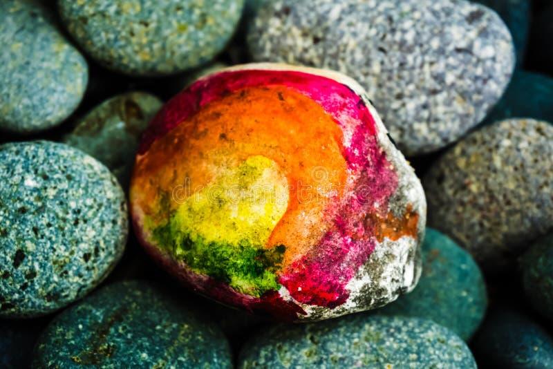 Kolorowy Kamienny obraz - Abstrakcjonistyczna sztuka fotografia stock
