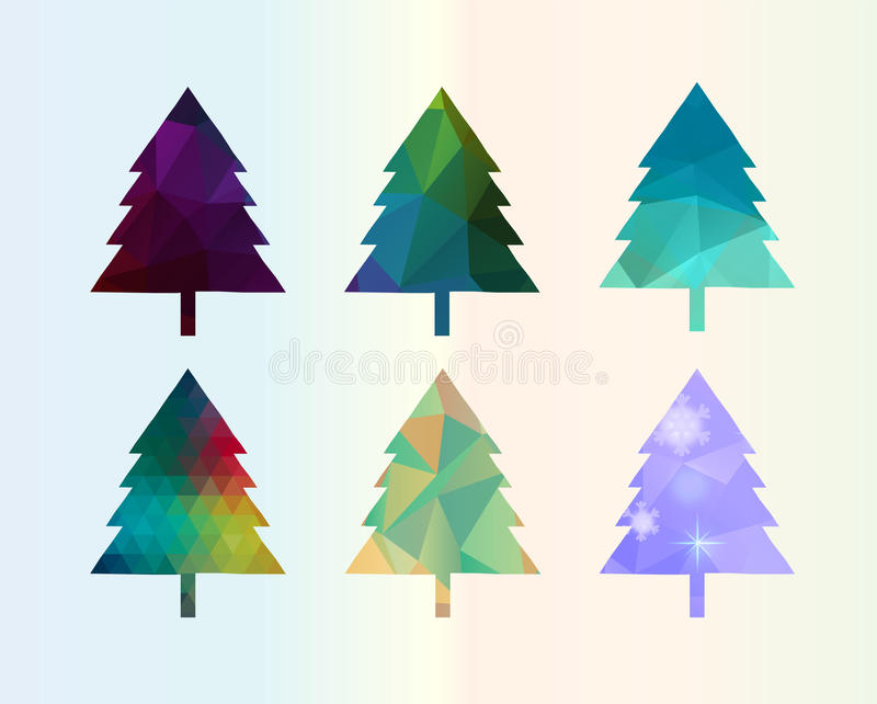 Kolorowy Karowy Сhristmas drzewa set ilustracji
