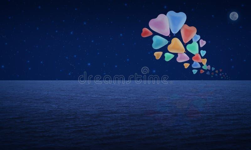 Kolorowy kierowy miłość balonu pławik na fantazi księżyc i niebie ilustracji