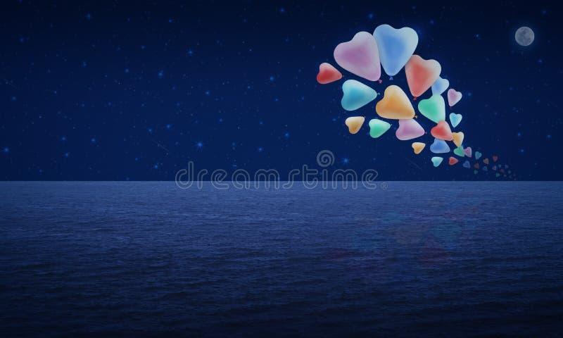 Kolorowy kierowy miłość balonu pławik na fantazi księżyc i niebie ilustracja wektor