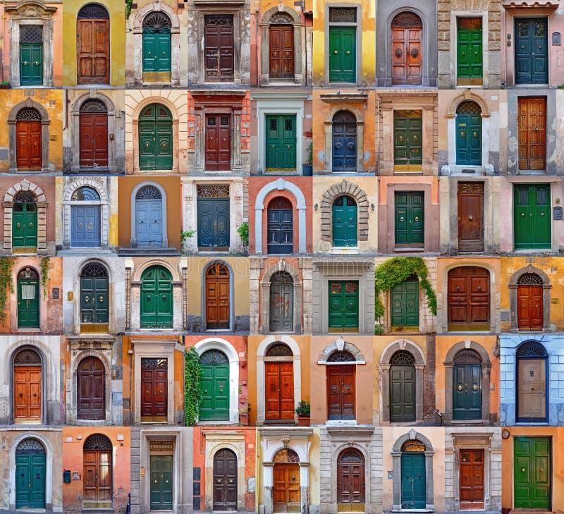 Kolorowy kolaż robić drzwi od Rzym zdjęcia stock