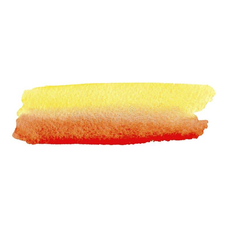 Kolorowy kolor żółty, pomarańcze, czerwone akwareli tekstury na białej księgi tle R?ka maluj?ca abstrakcjonistyczna ilustracja royalty ilustracja