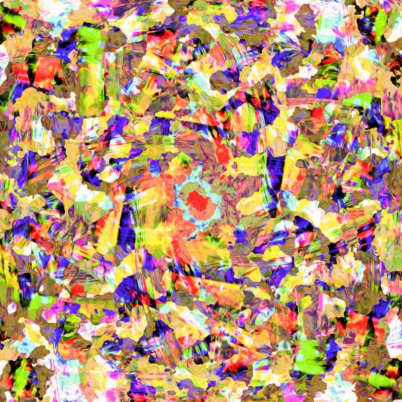 Kolorowy kolor żółty, zieleń i błękitna cyfrowa nafcianej farby abstrakta tapeta, ilustracji